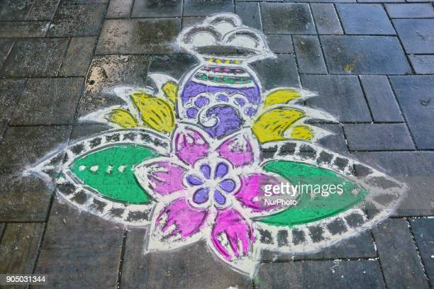Traditional rangloli design during the occasion of the Thai Pongal Festival in Toronto Ontario Canada on January 14 2018 The festival of Thai Pongal...