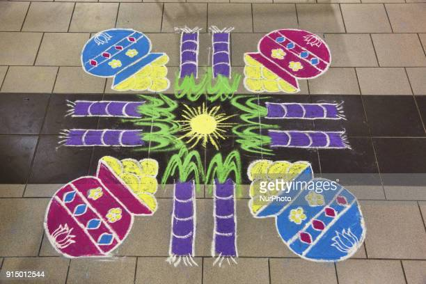 Traditional rangloli design during the occasion Tamil Heritage Month in Stouffville Ontario Canada on January 26 2018 The Canadian Parliament...