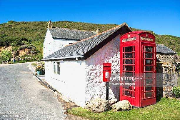 A Traditional Red Phone Box In A Village In Cornwall England Uk