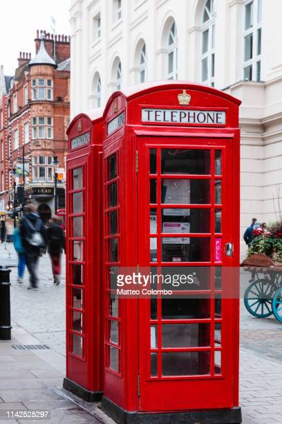 traditional red telephone box, london, united kingdom - england stock pictures, royalty-free photos & images