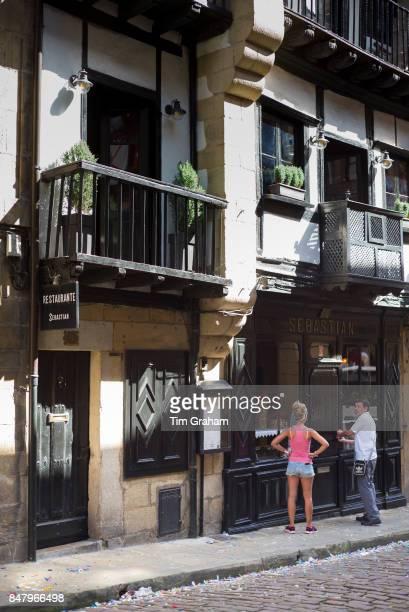 Traditional Restaurant Sebastian in old town Hondarribia in Gipuzkoa Basque Country Spain