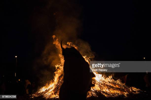 Traditional ritual at bonfire, Mohacs, Hungary