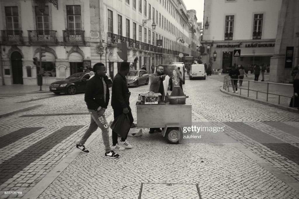 Traditional Roasted Chestunts Seller in Lisbon : Stock Photo