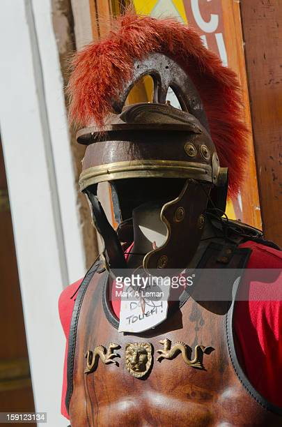 Traditional Roman gladiator costume in the street
