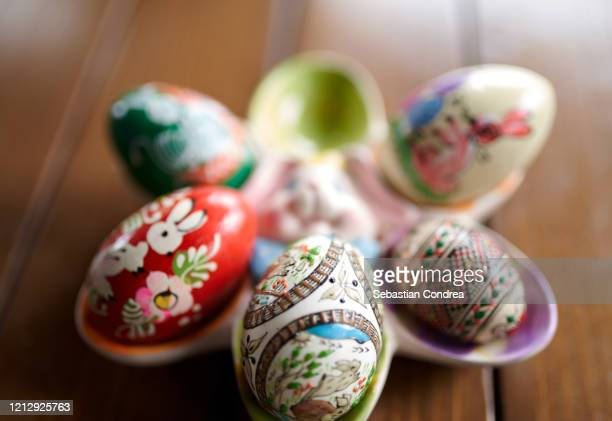 traditional romanian hand painted easter eggs, easter event in romania. - orthodox church stock pictures, royalty-free photos & images
