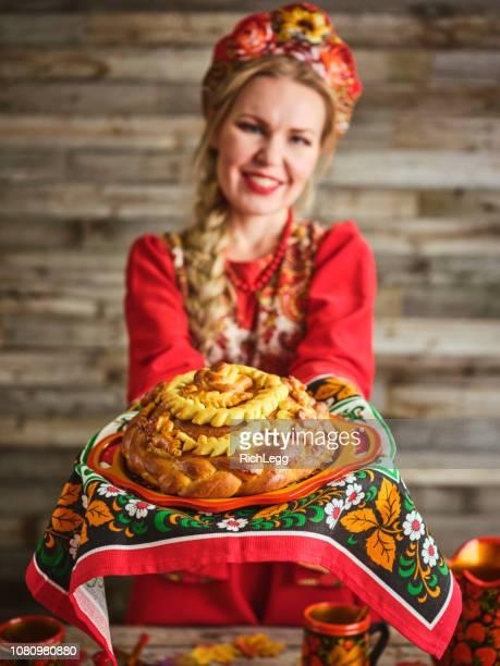 pain traditionnel russe karavai vacances - russia photos et images de collection