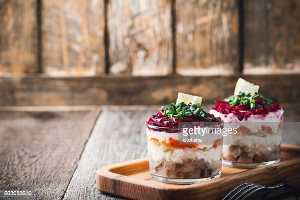 Traditional russian layered salad herring under a fur coat