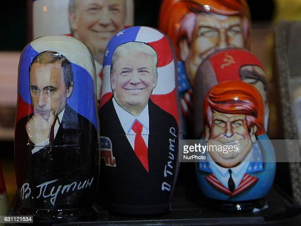 Traditional Russian wooden matryoshka doll with a picture of Presidentelect Donald Trump and Russian President Vladimir Putin at the fair on the Red...