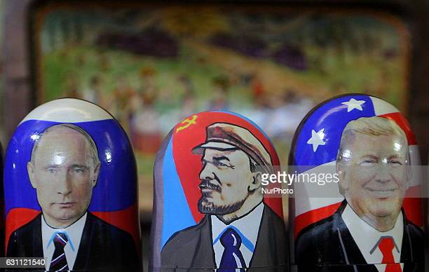 Traditional Russian wooden matryoshka doll with a picture of Presidentelect Donald Trump Vladimir Lenin a Soviet politician and statesman and Russian...
