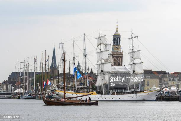 traditional sailing ships during the hanseatic days in kampen - overijssel stock pictures, royalty-free photos & images