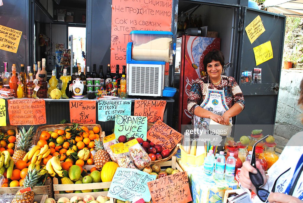 Traditional sales stall in Palermo / Sicily : Stock Photo