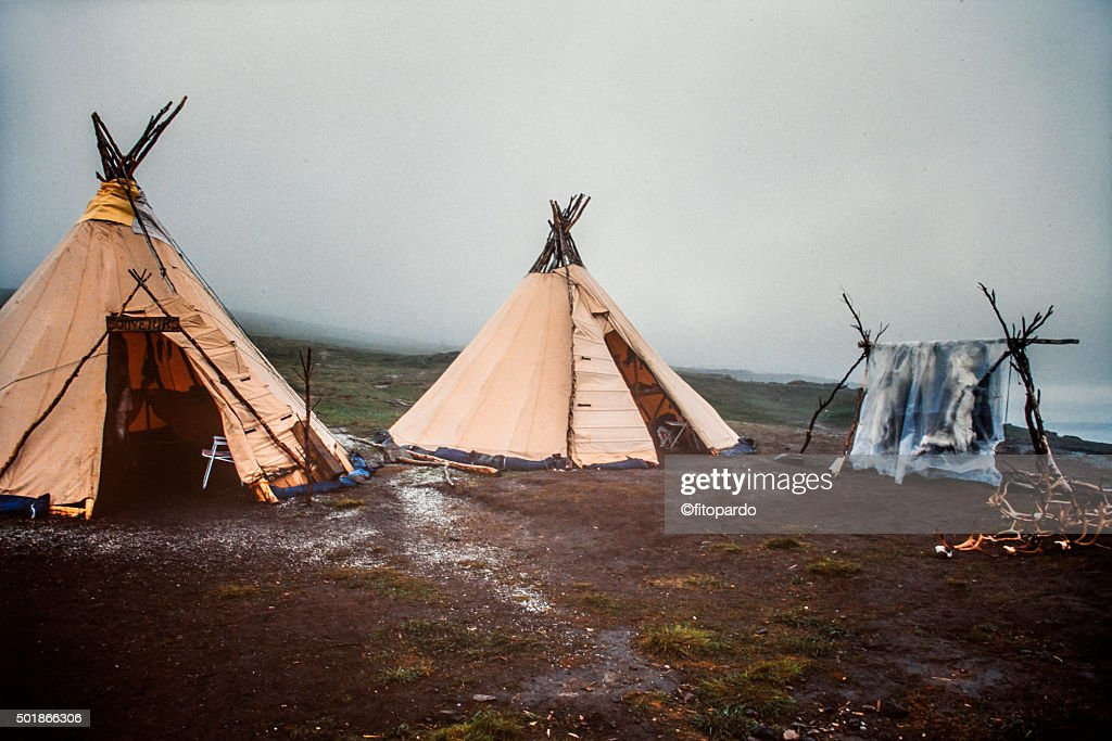Traditional Sami Reindeer Skin Tents In Tromso Norway Stock Photo | Getty Images & Traditional Sami Reindeer Skin Tents In Tromso Norway Stock Photo ...