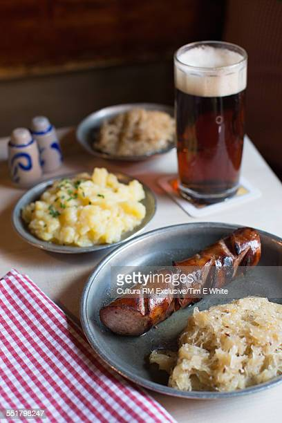 Traditional sausage and beer, Nuremberg, Germany
