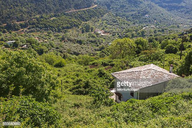 traditional schist roofed house at Panagia village thassos island greece