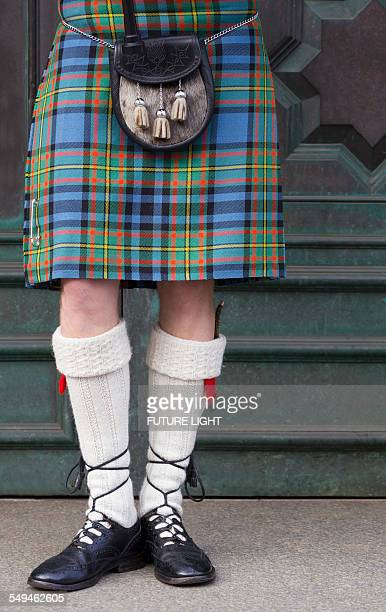 traditional scottish dress, edinburgh, scotland - kilt stock photos and pictures