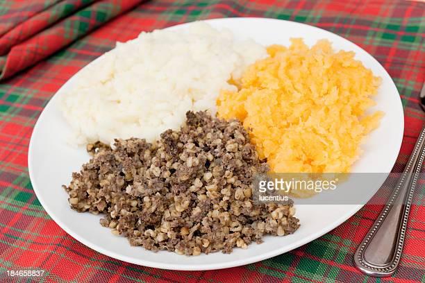 Traditional scottish meal of haggis, mash and turnips