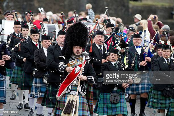 A traditional Scottish pipe band marching during Pipefest Stirling an event staged at Stirling Castle to coincide with the 700th anniversary of the...