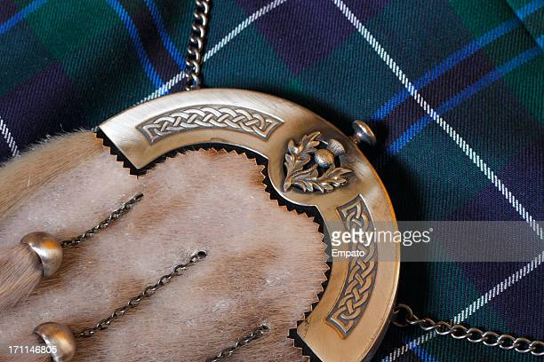traditional scottish sporran and kilt - kilt stock photos and pictures