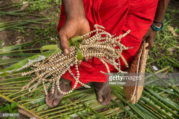 traditional seashell money exchange in papua new guinea - papua new guinea stock pictures, royalty-free photos & images