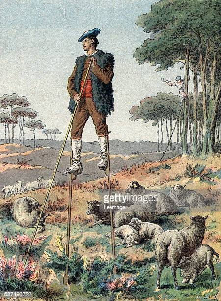 A traditional sheperd from Landes region walking on stilts France Engraving from 'Les peuples de la terre' by Charles Delon 1905 private collection