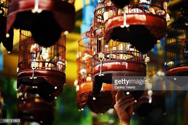 traditional singapore birdcages - シンガポール文化 ストックフォトと画像