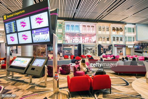 Traditional Singaporean Peranakan houses are mocked up as part of an interior display in the Heritage Zone during a media preview of the new Terminal...