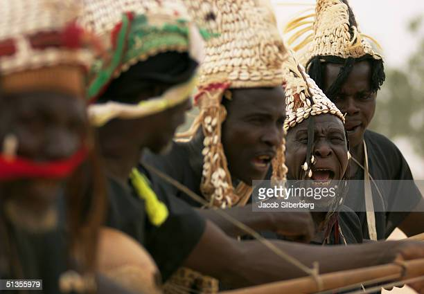 Traditional singers perform for the Emir on March 17 2004 at the Argungu Fishing Festival in Argungu Nigeria The Argungu Fishing Festival was first...
