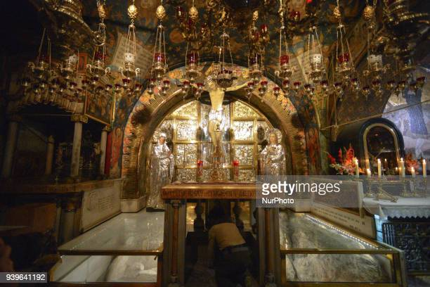 Traditional site of Golgotha within the Church of the Holy Sepulchre in the Old City of Jerusalem Wednesday 14 March 2018 in Jerusalem Israel