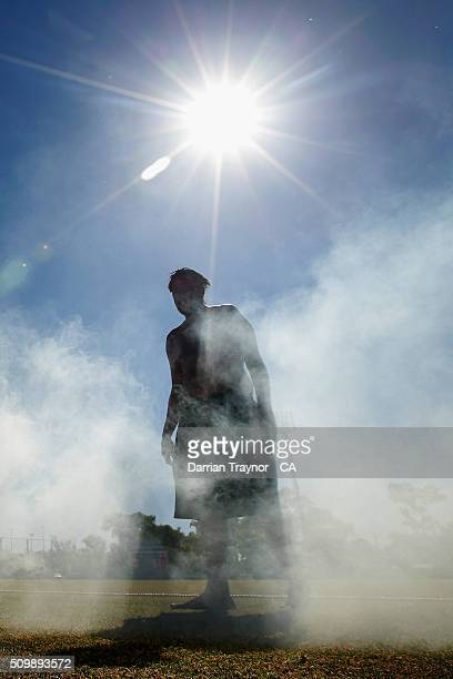Traditional smoking ceremony takes place during day 6 of the National Indigenous Cricket Championships on February 13, 2016 in Alice Springs,...