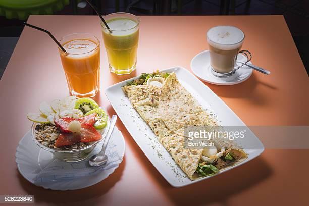 a traditional spanish breakfast; tarifa, cadiz, andalusia, spain - tarifa stock photos and pictures