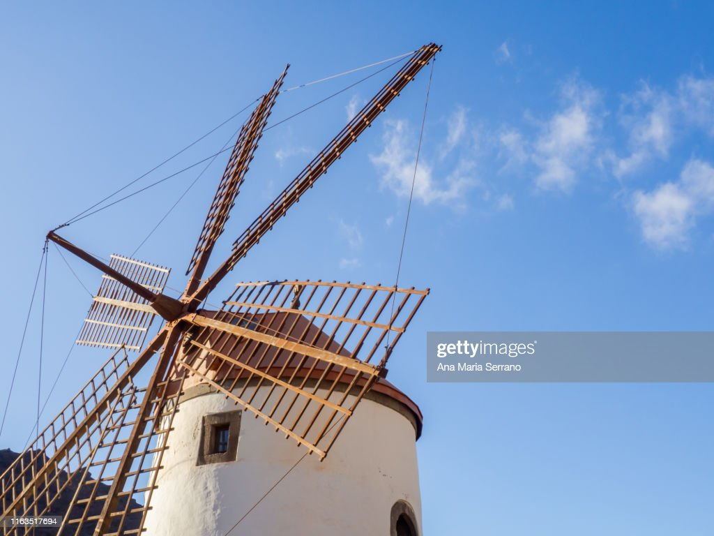 Traditional spanish windmill building in Mogan, Gran Canaria, Canary Islands, Spain : Stock Photo