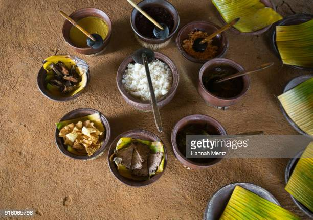 Traditional Sri Lankan Meal served on a clay table