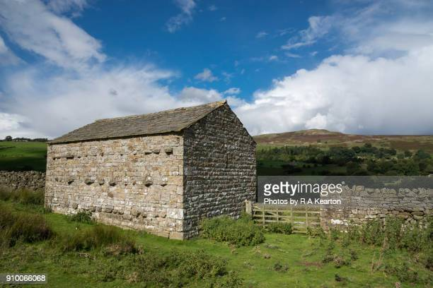 Traditional stone barn in Swaledale, Yorkshire Dales, England
