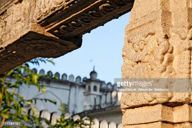 Traditional stone carving in Hyderabad, India