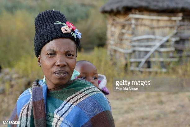 Traditional stone huts in Lesotho village on the side of a mountain on April 16 2017 in Lesotho