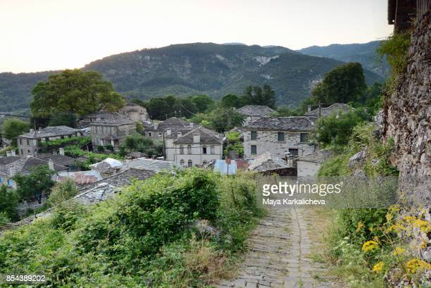 traditional stone village in zagoria / epirus, greece - epirus greece stock pictures, royalty-free photos & images