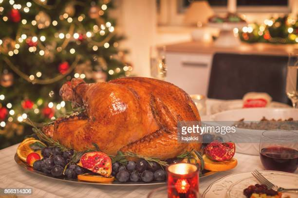 Traditional Stuffed Christmas Turkey with Side Dishes