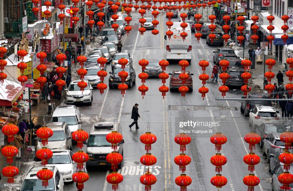 Traditional style red lanterns hanging over East Broadway during Chinese Lantern Festival : Stock Photo