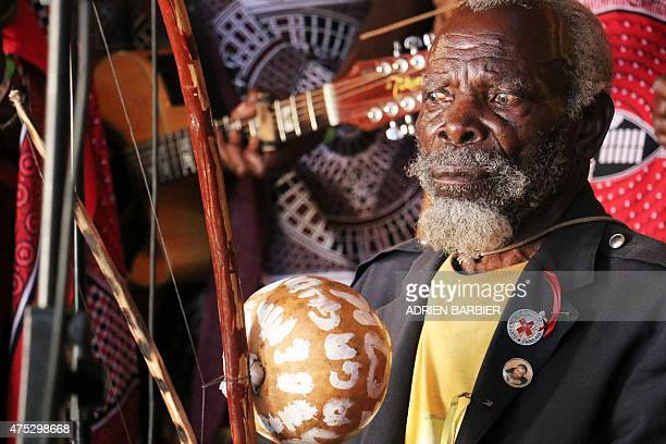 A traditional Swazi musician performs during the Swaziland Bushfire festival on May 30 2015 in Malkerns in the Swaziland countryside Bushfire is...