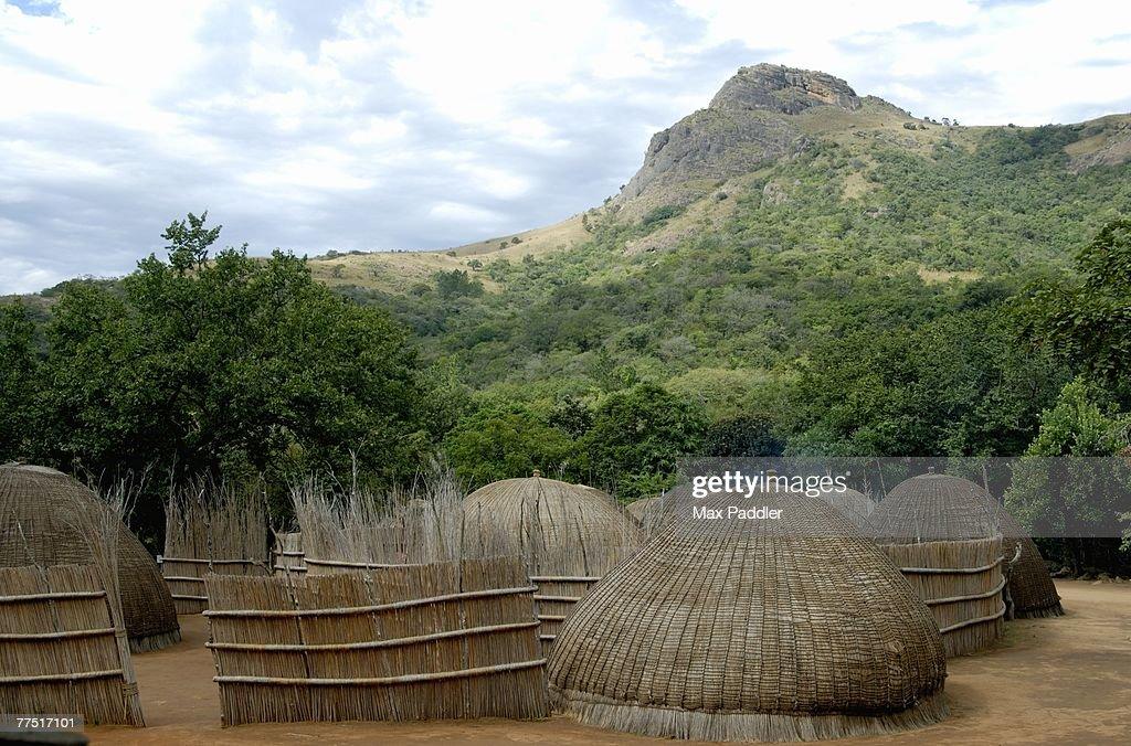 Traditional Swazi Village.. Swaziland : Stock Photo