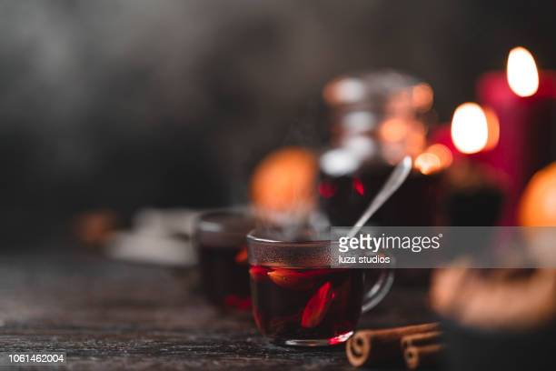 traditional swedish glögg mulled wine at christmas - hot drink stock pictures, royalty-free photos & images