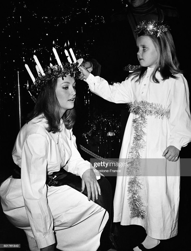 Traditional Swedish Santa Lucia Was Held Today At The Hilton Hotel By Swedish Actress Mia Gemberg... : News Photo