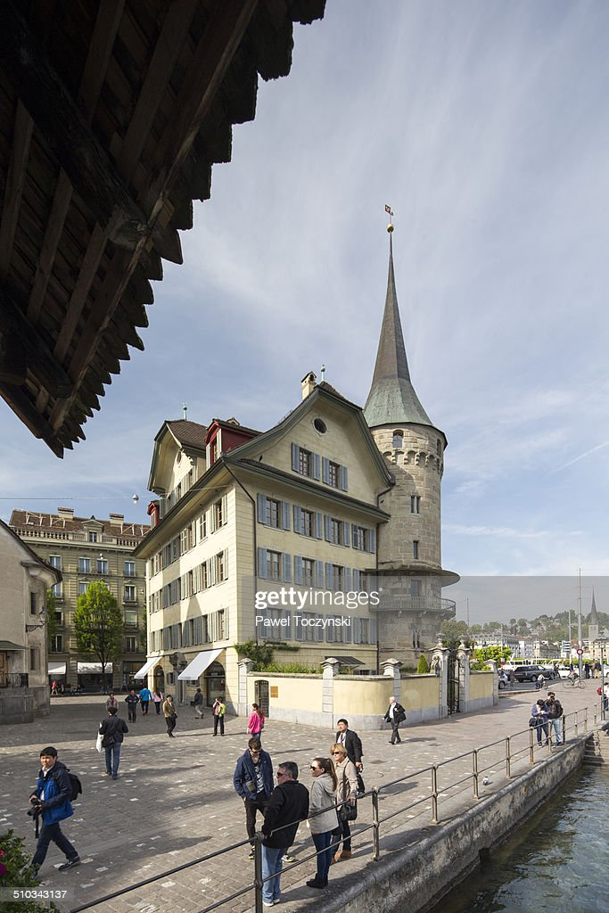 Traditional Swiss Architecture Along Reuss River Stock Photo