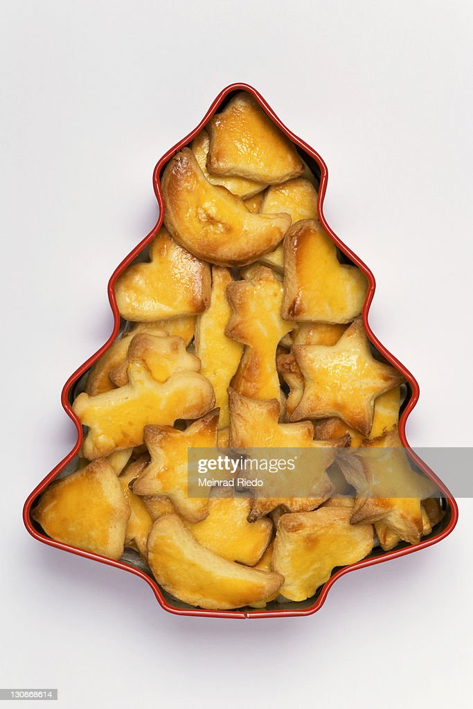 Traditional Swiss Christmas Cookies Mailaenderli In A Tin Box Stock