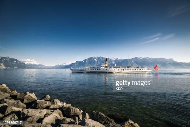 traditional swiss cruise ship in lake geneva, vevey city, switzerland. - ヴォー州 ストックフォトと画像