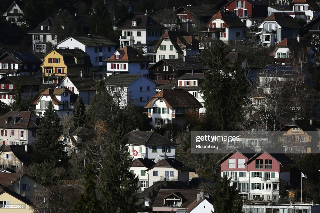 Traditional Swiss residential properties stand in Bern, Switzerland, on Monday, Jan. 1, 2018. The supply of uninhabited apartments for rent has increased faster than the Swiss population has grown. Photographer: Stefan Wermuth/Bloomberg via Getty Images