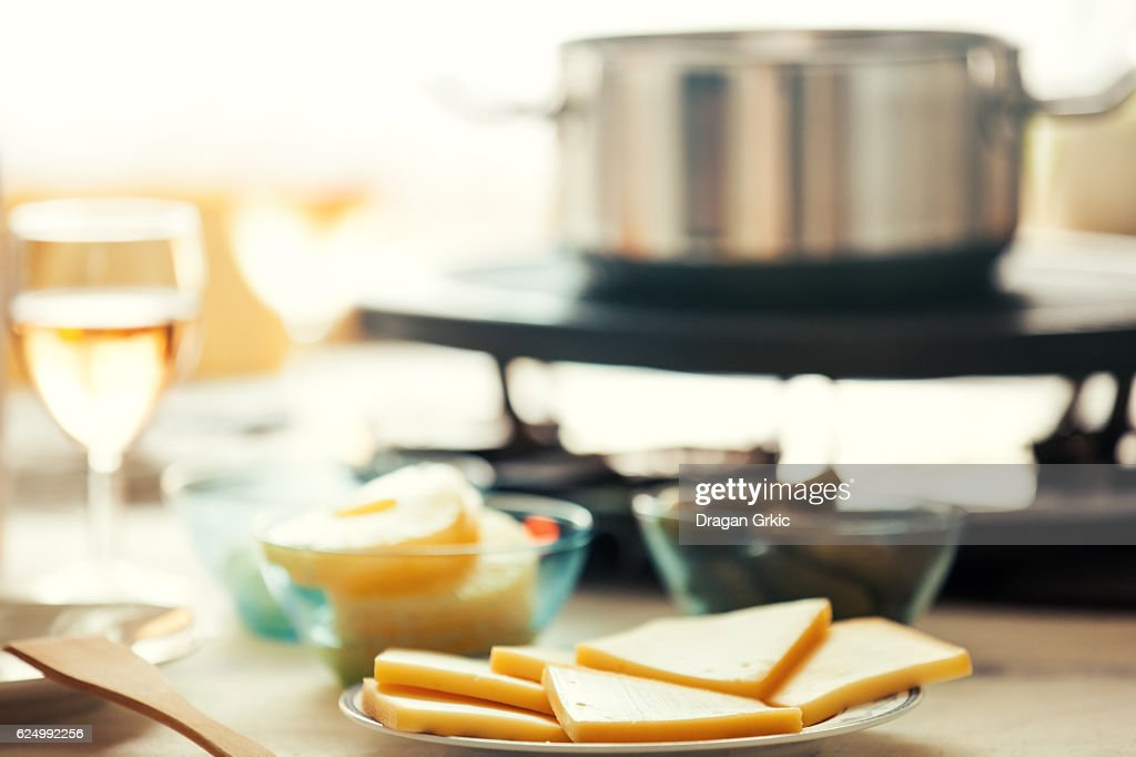 Traditional Swiss winter meal. Raclette. : Stock-Foto