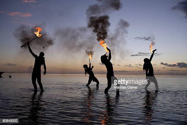 traditional tahitian fire dancers