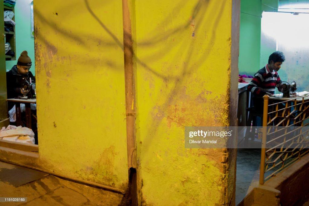 A Traditional Tailor Shop In Varanasi : Stock Photo