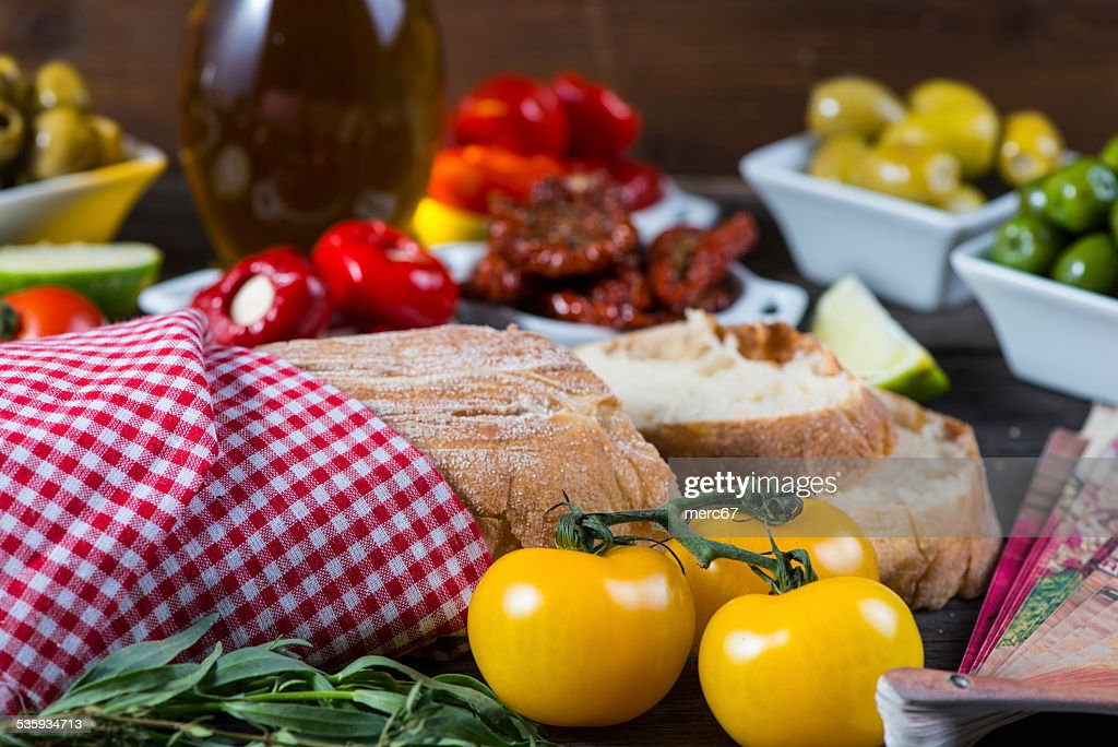 Traditional tapas buffet on wooden table : Stock Photo